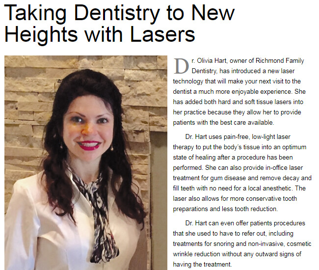 Taking Dentistry to New Heights with Lasers - By Dr. Hart Oliver at Richmond Family Dentistry